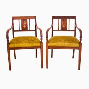 Restored Empire Style Inlaid Armchairs, Circa 1860, Set of 2
