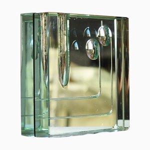 Jarrón Soliflor de metal cromado y vidrio tallado de Fontana Arte, años 50