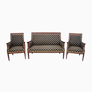 Restored Northern European Empire Style Living Room Set, Circa 1880, Set of 3
