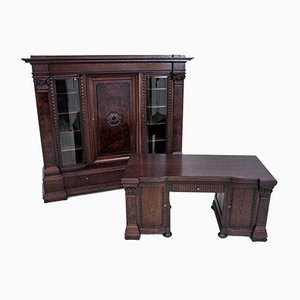 Restored Antique Desk & Bookcase Set, Circa 1900, Set of 2