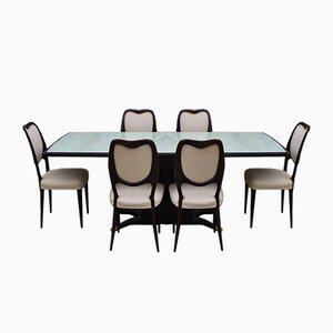 Tavolo da pranzo e sedie in mogano di Fratelli Rigamonti, anni '50, set di 7