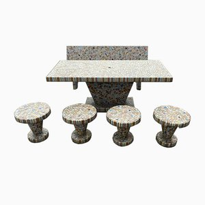 Antique Mosaic Garden Table & Stools, 1930s, Set of 6