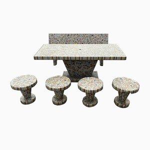 Table et Tabourets de Jardin Antiques en Mosaïque, 1930s, Set de 6