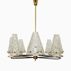 Austrian Brass Chandelier by J. T. Kalmar for Franken KG, 1950s