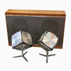 Würfelförmiges Boxen Set mit Verstärker von Grundig, 1970er, 3er Set
