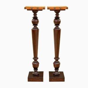Antique Chestnut Pedestals, Set of 2