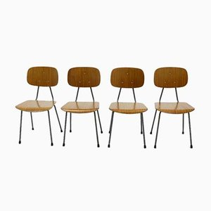Plywood and Steel Dining Chairs from Kembo, 1950s, Set of 4