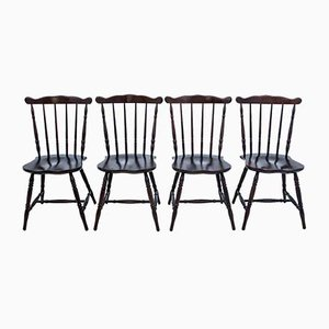 Restored Polish Wooden Dining Chairs, 1950s, Set of 4