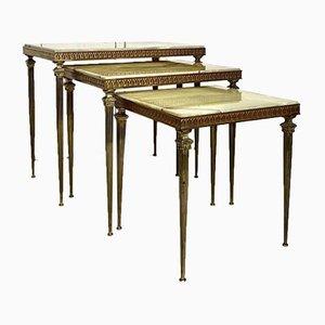 Marble and Brass Nesting Tables, 1970s, Set of 3