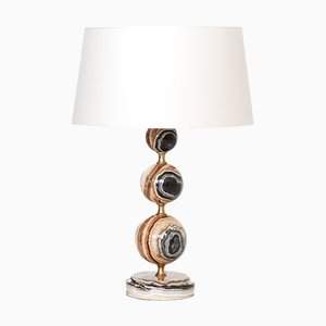 Italian Onyx and Brass Table Lamp with White Shade, 1970s