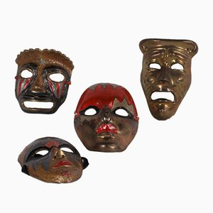 Vintage Decorative Copper Masks, 1960s, Set of 4