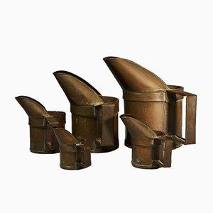 Vintage Kupfer Messbecher, 5er Set
