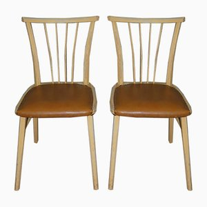 Beige & Brown Dining Chairs with Rungs, 1950s, Set of 2