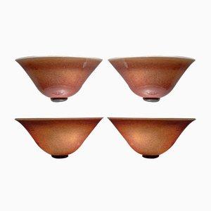Lampade da parete in vetro di Murano di Barovier & Toso, anni '70, set di 4