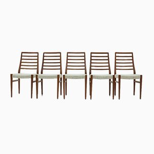 Teak Ladder Back Dining Chairs from Burchardt Nielsen, 1960s, Set of 5