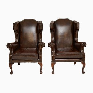 Leather Wing Back Armchairs, 1930s, Set of 2
