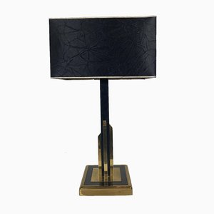 Vintage Gold and Brass Black Table Lamp, 1970s