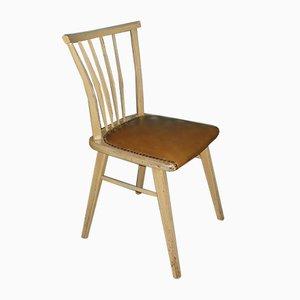 Mid-Century Beige & Brown Innerspring Chair with Rungs