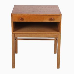 Swedish Bedside Table with Drawer & Wooden Handles, 1960s