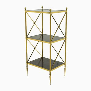 Brass and Black Leather Side Table from Maison Jansen, 1970s