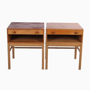 Swedish Bedside Table with Drawer & Wooden Handles, 1960s, Set of 2