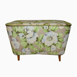 Pastel Floral Ottoman or Laundry Chest, 1950s