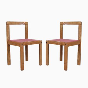 Wooden Dining Chairs, 1980s, Set of 2