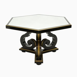 Black Wood and Gold Mirror Dining Table by Maurice Hirsch, 1970s