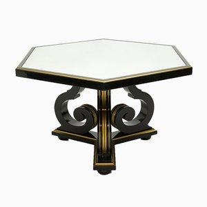 Mesa de comedor de madera negra y espejo dorado de Maurice Hirsch, años 70