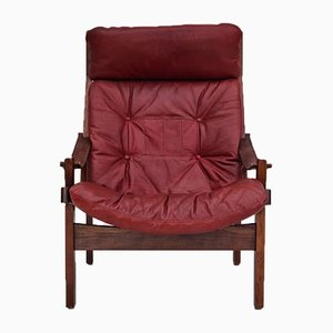 High Back Cherry Brown Leather and Teak Relax Armchair, 1970s