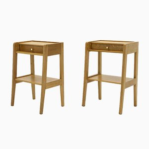 Brass Oak Nightstands, 1950s, Set of 2