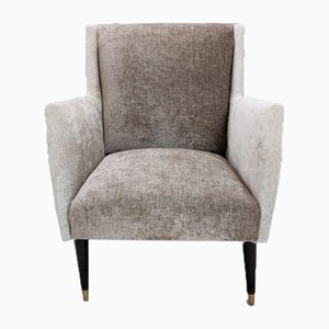 Italian Gio Ponti Style Gray & Taupe Velvet Armchairs, 1950s, Set of 2