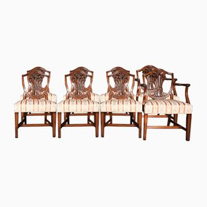 Antique Georgian English Mahogany Dining Chairs by Hepplewhite for Gillows, Set of 8