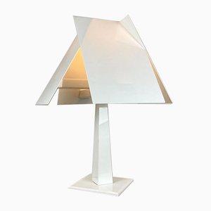 Italienische Weiße Glas Tischlampe, 1980er