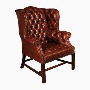 Antique Leather Chesterfield Armchair with Mahogany Base