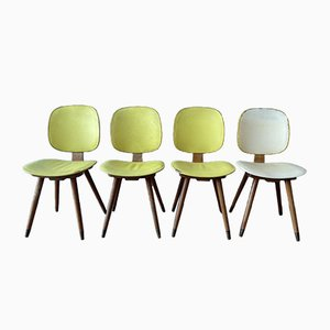 Mid-Century British Yellow Vinyl Dining Chairs, 1950s, Set of 4