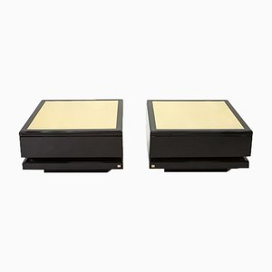 Black Lacquered and Brass Coffee Tables by Jean Claude Mahey, 1970s, Set of 2