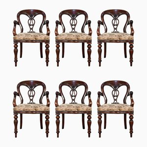 Vintage English Regency Style Mahogany Dining Chairs, 1980s, Set of 6
