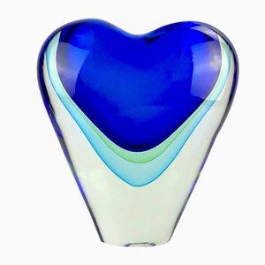 Vase Cuore Sommerso en Verre de Murano par Valter Rossi pour Vrm