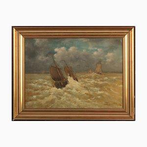 Emmanuel Joseph Lauret, bote en el mar salvaje, óleo sobre lienzo