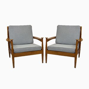 Scandinavian Beech Lounge Chairs, 1960s, Set of 2