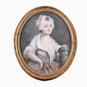 18th Century Oval Pastel Painting of Milk Girl