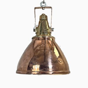 German Industrial Copper & Brass Ceiling Lamp, 1970s