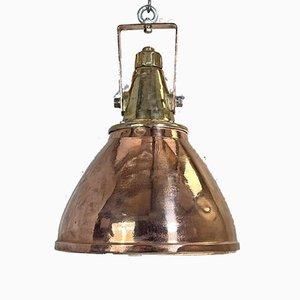 German Industrial Copper & Brass Ceiling Lamp, 1970s