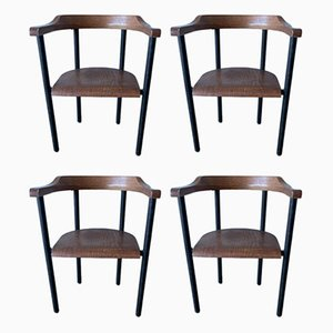 Vintage British Industrial Metal & Wood Dining Chairs, Set of 4