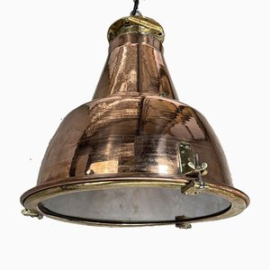 Large Japanese Industrial Copper & Brass Ceiling Lamp, 1970s