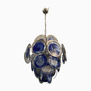 Mid-Century Space Age Kronleuchter aus Blauem Murano Glas von Murano für Vistosi, 1970er