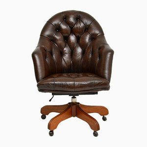 Georgian Style Leather Swivel Desk Chair , 1950s