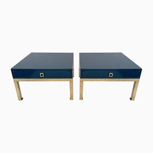 French Lacquered & Brass Side Tables by Guy Lefèvre, 1970s, Set of 2