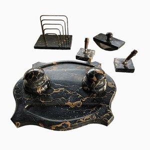 Set da scrivania antico in marmo, set di 5